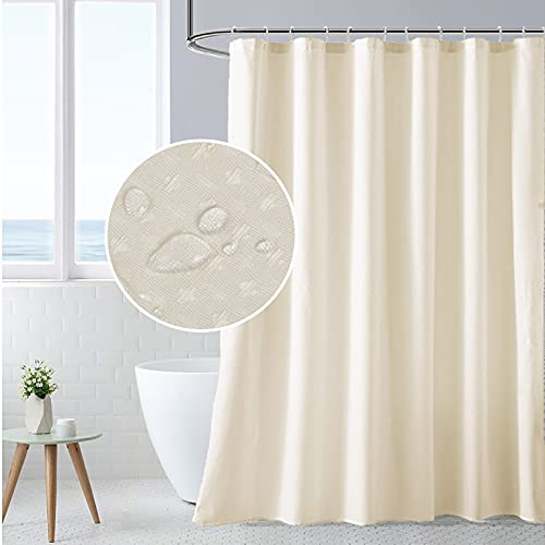 XINSILU Waffle Shower Curtain for Bathroom, Stalls, Park Spa and Bathtubs, Shower Curtain Liner with 12 Hooks, Hotel Quality Waffle Weave Bathroom Curtain Modern Home Bathroom Decorative, 72x72, Ivory