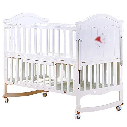 Zatnec Cuna De Madera Cuna De Bebé 0-3 Años Cuna Balancín Ajustable En 3 Alturas Convertible En Mecedora con 4 Ruedas Y Frenos