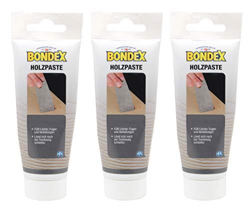 Bondex Holzpaste Holzkitt Reparaturpaste zum ausbessern von Risse Löcher Kratzer Laminat Parkett Möbel und Holz (3x 60g Tube, kirschbaum)