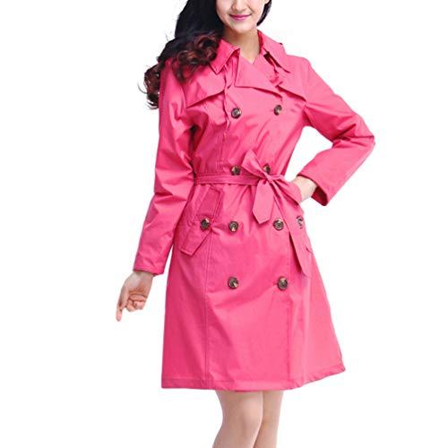 IMIKEYA dames regenjas met capuchon lichte trench windjas waterdicht herbruikbare regenjas voor dames waterdicht (zwart), 100x46x0.5cm., Roze.