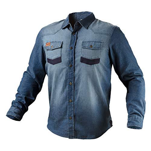 NEO TOOLS Camisa de manga larga para hombre con cuello clásico, tela vaquera, tallas S-XXXL, 100% algodón, 380 g/m², botones de metal, codos reforzados Denim. L