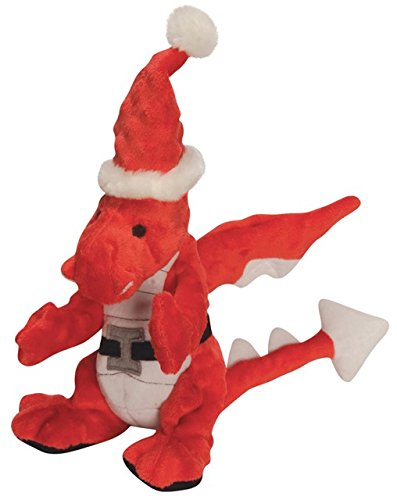 goDog Holiday Dragons with Chew Guard Technology Plush Dog Toy Large, Red