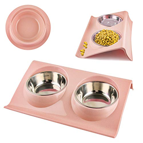 Comedor Gato, Gato Cuenco, Cuenco Doble Para Gatos de Acero Inoxidable, Diseño Antidesbordamiento para Comedero para Perros y Gatos, Comedero para Comida y Agua, Extraíble y Fácil de Limpiar (