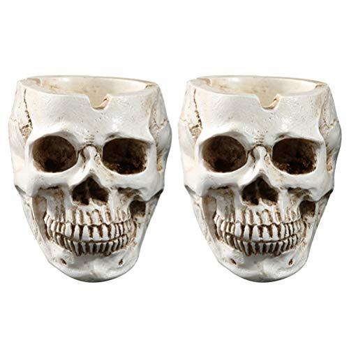 TOYANDONA 2 Pcs Criativo Halloween Crânio Decoração Horror Novidade Brinquedo Comédia Paródia Humano Prop Resina Cabeça de Caveira Ornamento (bege)