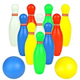 Fajiabao Mini Bowling Set for Kids with 2 Balls Colorful Balls Indoor Outdoor Games Family Fun Activities Birthday Gifts Educational Learning Toys Preschool Boys Girls Toddlers 3 4 5 6 Years Old (Toy)