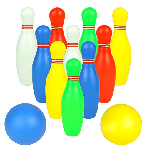 Fajiabao Mini Bowling Set for Kids with 2 Balls Colorful Balls Indoor Outdoor Party Games Family Fun Activities Birthday Gifts Educational Learning Toys Preschool Boys Girls 3 4 5 6 Years Old