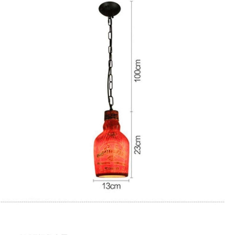 Wykbm Kronleuchter kreative Retro American Country Flasche Kronleuchter Kronleuchter (Farbe  rot-C).