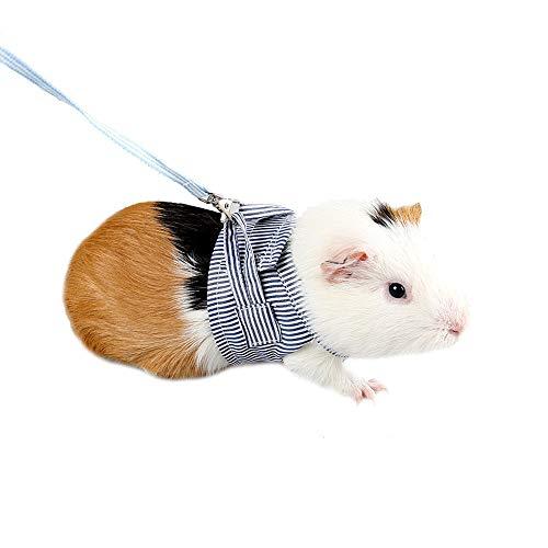 ASOCEA Meerschweinchen Kaninchen Verstellbar Weich Baumwolle Geschirr und Leine Set für Ratten Leguana Hamster Frettchen Kleintier