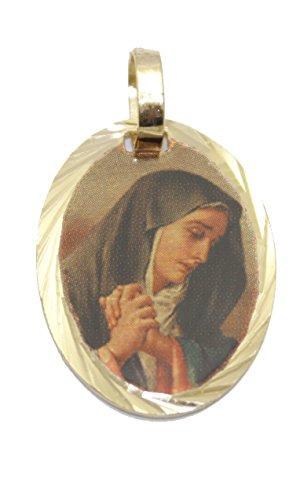Diamantados of Florida Nuestra Señora de los Dolores Medalla-Virgen Dolorosa Colgante Medalla De 14K Chapado en Oro, con 18Pulgadas Cadena