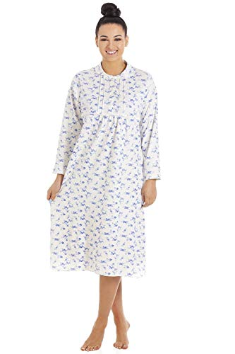 Classico Donne A Maniche Lunghe Pulsante Floreale Anteriore Camicia da Notte in Cotone 54-56 Blue