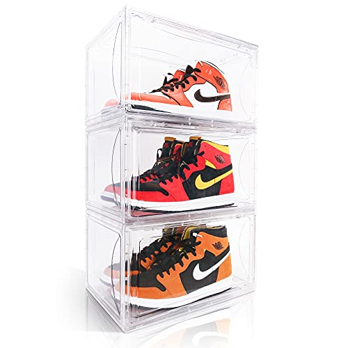 3 Pack Transparent Shoe Storage Box for Display Stackable Extra Large Sneaker Organizer Case with Side Open Acrylic Container Rack for High Heels (Transparent, 3 Pack)