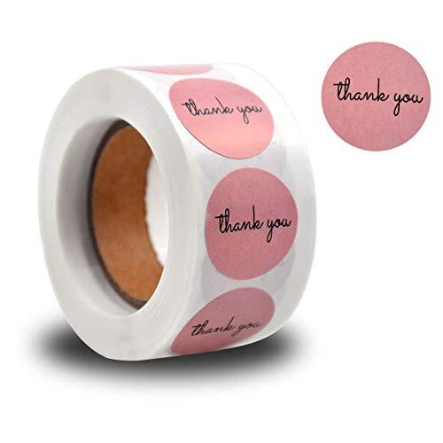 500 Pieza Redondo Pegatinas Etiquetas Gracias, 2.5cm Thank You Etiquetas Adhesivas, Autoadhesivas Pegatinas de Agradecimiento Rollo para Scrapbooking Regalo Embalaje Sobre (Rosa)