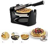 YLGAN Waffle Iron for 4 cialde belghe ,Piastra for Waffle Advanced Control,Macchina for Waffle con Controllo della Temperatura,Rotazione di 180 °