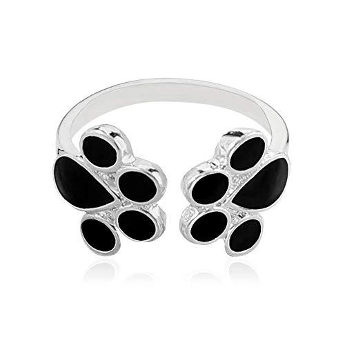 Hoveey - Anillo para Mujer con diseño de Huella de Perro y Gato, Regalo de cumpleaños