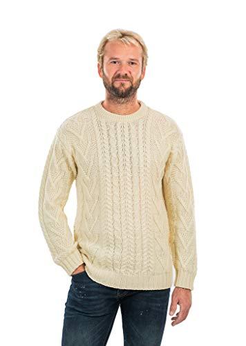 Mens Traditional Aran Crew Neck Sweater (Natural, Medium)
