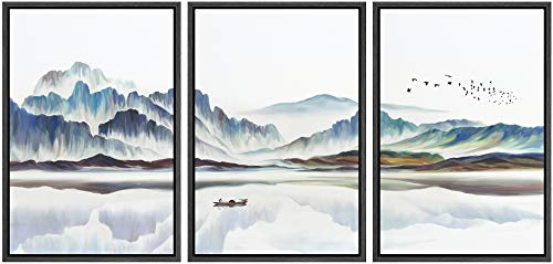 NWT Framed Wall Art Print Set Watercolor Mountain Landscape with Boat Nature Wilderness Illustrations Modern Art Rustic Colorful Pastel for Living Room, Bedroom, Office - 24'x36'x3 Black