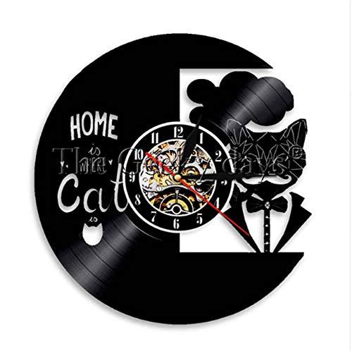 LTOOD Home Is Waar De Kat Is Vinyl Record Wandklok Silhouette Nacht Licht Klok Voor Dieren Kat Liefhebber Gift
