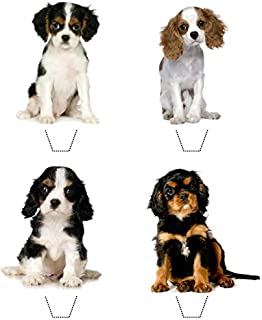 Novelty Cavalier King Charles Spaniel Puppy Mix 12 Edible Stand Up wafer paper toppers (5 - 10 BUSINESS DAYS DELIVERY FROM UK)