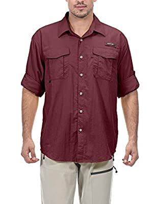 Little Donkey Andy Men's UPF 50+ UV Protection Shirt, Long Sleeve Fishing Shirt, Breathable and Fast Dry Dark Red L
