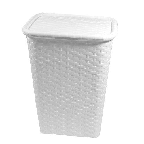 Multistore 2002 Wäschekorb 65 Liter Wäschebox Wäschetruhe Wäschekiste Wäschesammler Wäschetonne mit Deckel Kunststoff in Rattan Flechtoptik (Weiß)