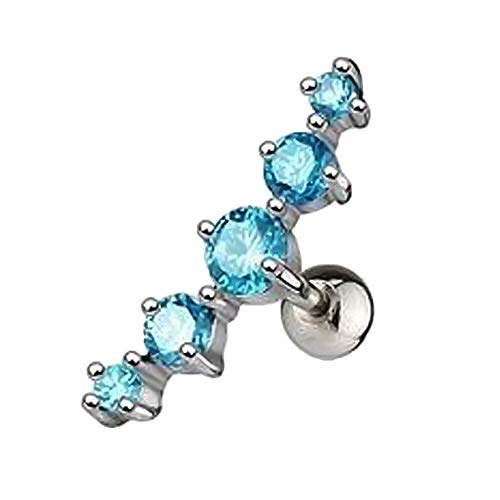 Verliked Cristalli Orecchio Strass Intarsiato A Forma di Arco Orecchino A Perno Dell'orecchio Gioielli Piercing alla Cartilagine per Le Donne Ragazze Blu