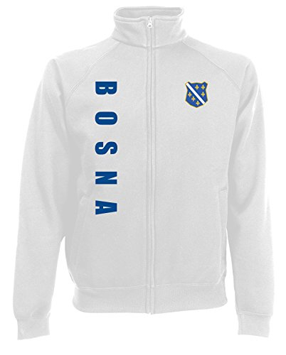 AkyTEX Bosnien Bosna EM-2020 Sweatjacke Wunschname Wunschnummer Weiß S