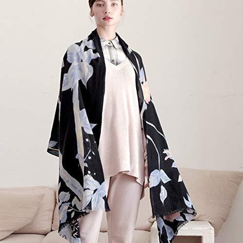 CHENGWJ sjaal vrouwelijke sjaal bedrukt wol lente en herfst winter zwart dun sectie lang warm