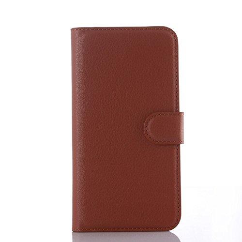 Tasche für Wiko Stairway Hülle, Ycloud PU Ledertasche Flip Cover Wallet Hülle Handyhülle mit Stand Function Credit Card Slots Bookstyle Purse Design braun
