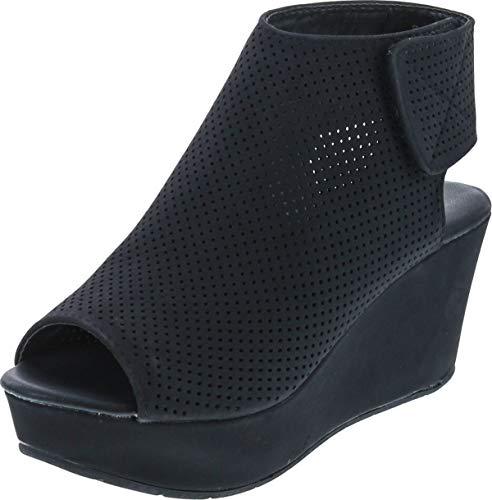 Pierre Dumas Womens Backless Slip On Wedge Shoes Black 7.5