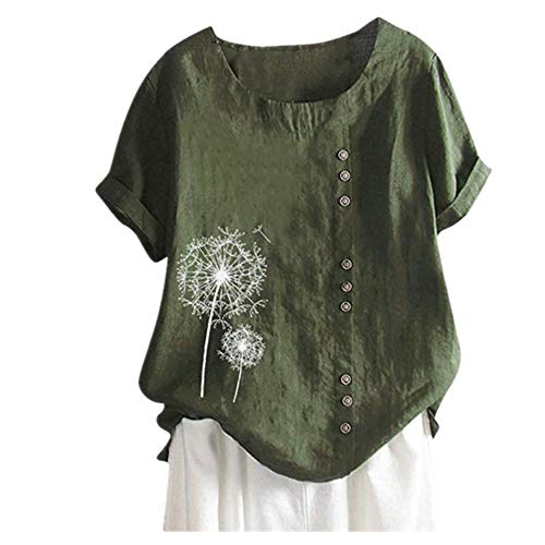 Damen Kurzarm Rundhalsausschnitt Lose Einfarbige Damen Oberteile,Sommer Atmungsaktives Kurzarm-T-Shirt,T-Shirt-Oberteil Mit Knopfdekoration