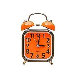 "Enjoy Best Time 4"" Twin Bell Alarm Clock, Loud Orange Home Alarm Clock with Nightlight, Non Ticking for Bedroom"