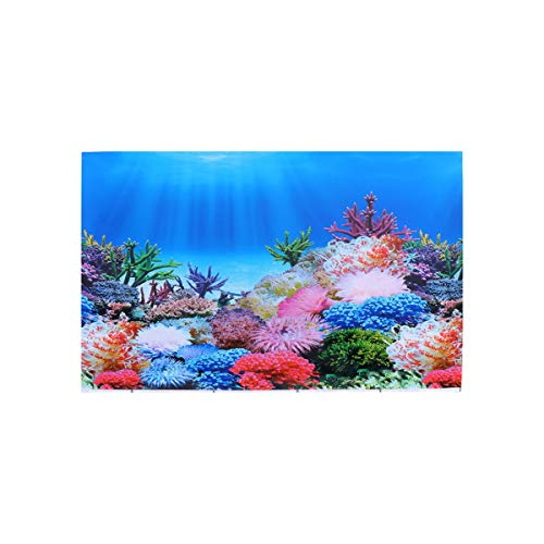 POPETPOP 3D Fish Tank Background Poster, Double-side Scenery Aquarium Sticker, Coral Glass Decal Background Wallpaper Underwater Background for Fish Tank Aquarium