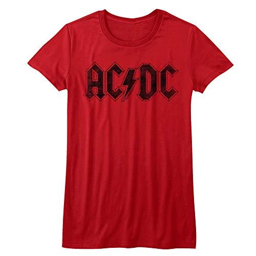 ACDC Heavy Metal Rock Band Schwarz auf Rot Logo Juniors T-Shirt, rot, Groß