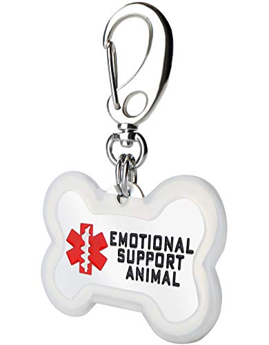 FunTags Service Dog Tag Double Sided Stainless Steel Emotional Support Animal Tags with Silencer,1.2'x1.4' Bone ESA