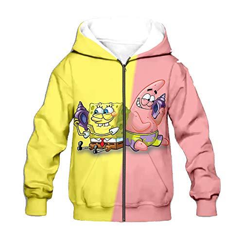 Vbggorgkjo Spongebob Squarepants Pullover Dünnere Sweatshirt Langarm-Pullover Freizeit Pullover modischer Entwurf Outwear Airy Coats weiche Jacken Unisex Junge und Mädchen (Color : A02, Size : 100)