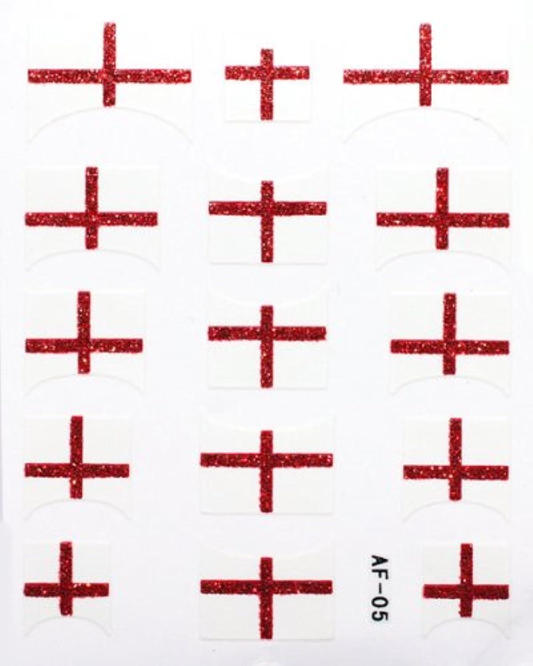 不確実接尾辞つかいますきらきら逆フレンチネイルシール イングランド国旗 AF05 貼るだけ ジェルネイルアート