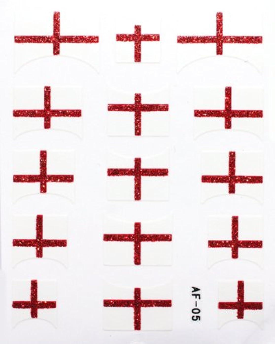 豚経済的送金きらきら逆フレンチネイルシール イングランド国旗 AF05 貼るだけ ジェルネイルアート