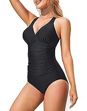 CtriLady Women One Piece Swimsuits V Neck Padded Tummy Control Bathing Suit Ruched Back Cross Swimwear (Black, XX-Large)
