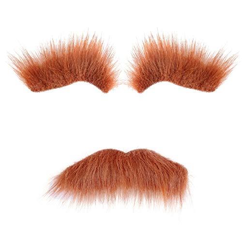 BinaryABC Halloween Costumes Self Adhesive Fake Eyebrows Beard Moustache Facial Hair,Halloween Party Supplies (Brown)