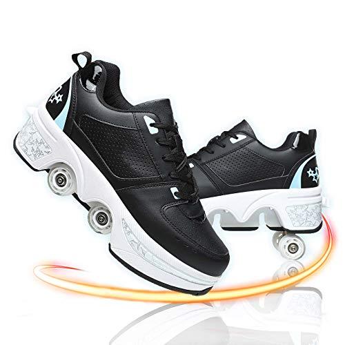 GGXINT Zapatos con Ruedas para Niños Y Niña Aire Libre Y Deporte Gimnasia Running Zapatillas Automática Calzado De Skateboarding,Black Blue,41