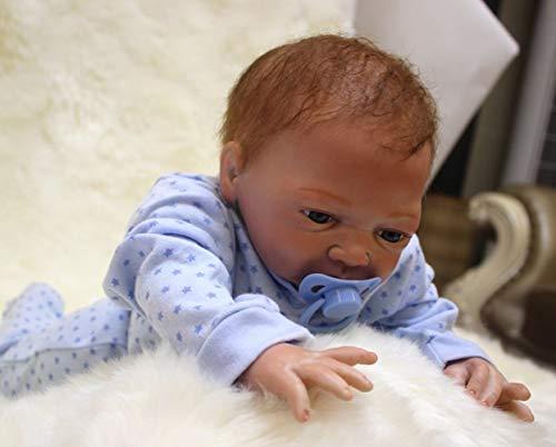 UBTY 18 Pulgadas 45cm Ojos Abiertos Reborn Muñecas niño Toddler Hecha a Mano Vinilo de Silicona Suave Magnética Baby Doll Juguete Vinilo de Silicona Suave Magnética Baby Doll Juguete