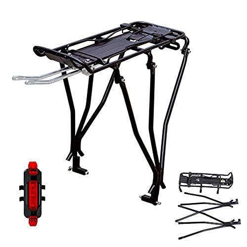 Portaequipajes para Bicicleta con Sccesorios de Montaje Ajustable Asiento Trasero de Aleación de Aluminio, Capacidad de 25 kg con luz Trasera de Carga USB Montaje Manual Porta Equipaje