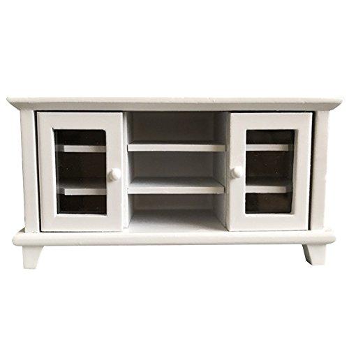LSERVER Puppenhaus Möbel TV-Schrank Wohnzimmer aus Holz Für Barbie Puppen ,Weiß