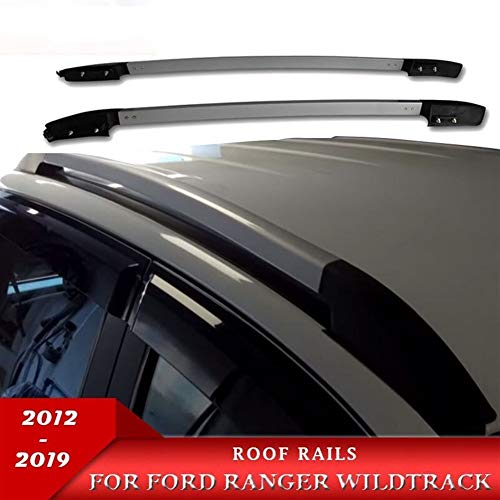 ROYAL STAR TY Decorativos de Techo Carriles Carriles Techo Negro Barras portaequipajes for Ford Ranger T6 T7 Wildtrack 2012-2019 (Color : Sliver (3M))