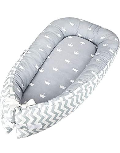 Cama nido bebé recién nacido MODELO coronas, baby nest, portátil, multifuncional, 100% algodón antialérgico, reductor bebé, protector de cuna con bolsa de almacenamiento