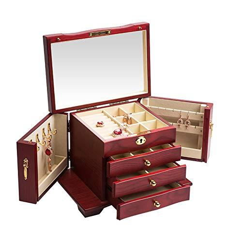 Caja de joyería de gran capacidad de madera creativa pendientes de joyería caja de almacenamiento de joyería caja de regalo pulsera collar joyería-rojo