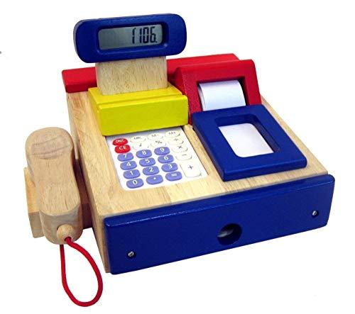 Bunte Kasse mit Scanner und Zubehör für den Kaufladen aus Holz, Kaufladenkasse