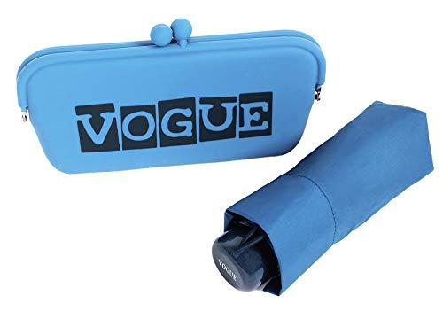 Paraguas Vogue presentado en un Bonito Estuche Tipo Clutch. Ideal para Regalar y Llevar de Viaje, al Gimnasio. Antiviento, con Acabado Teflón y protección Solar. (Azul)