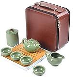 L/G Juego de té portátil de viaje hecho a mano chino kungfu de porcelana tetera de bambú 1 pieza