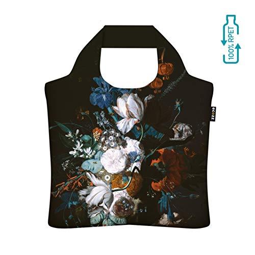 Ecozz Vase met Flowers - Jan Van Huysum, opvouwbaar, boodschappen tas met ritssluiting, draagtas, handtas, strandtas, winkeltas, tote, shopper, wasbaar, milieuvriendelijk, herbruikbaar, rPET
